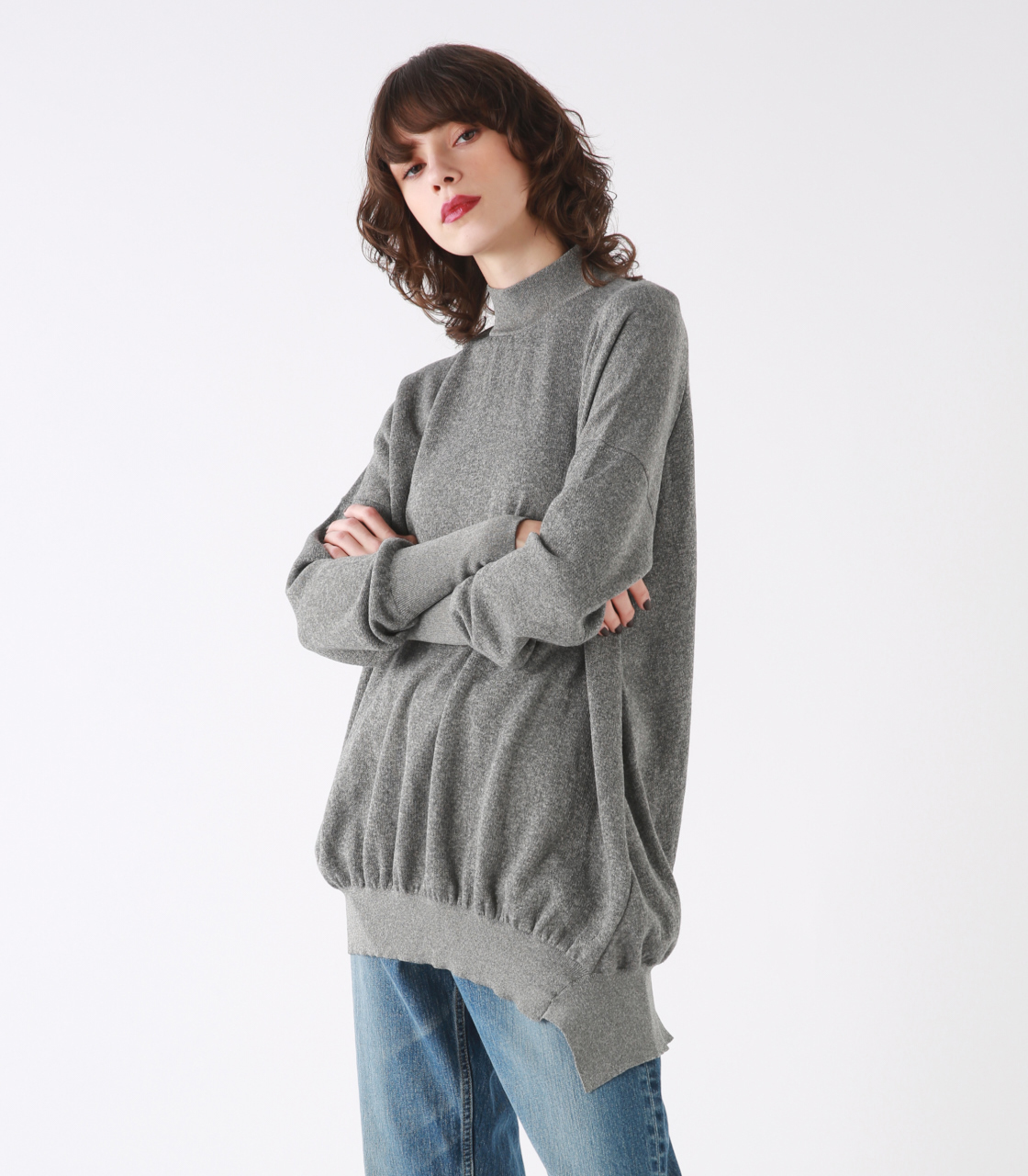 High neck asymmetry knit