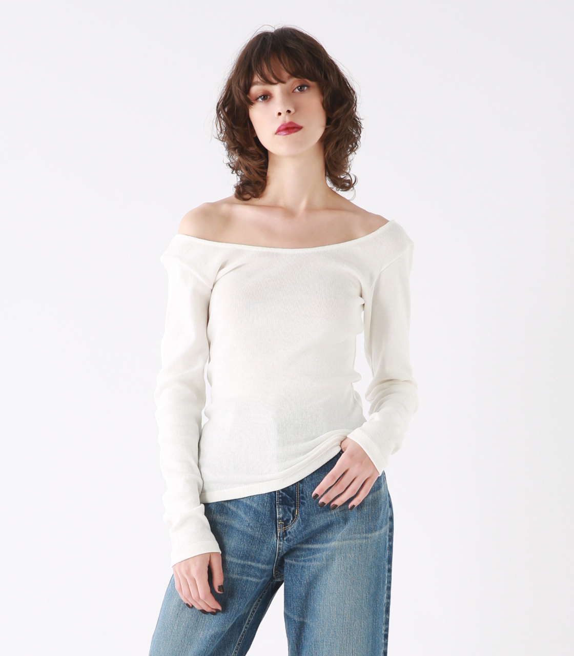 Skin shoulder long tee