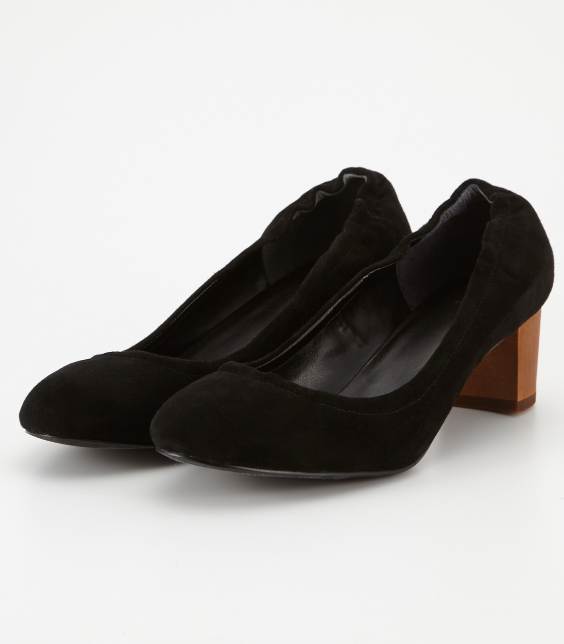 Suede round pumps
