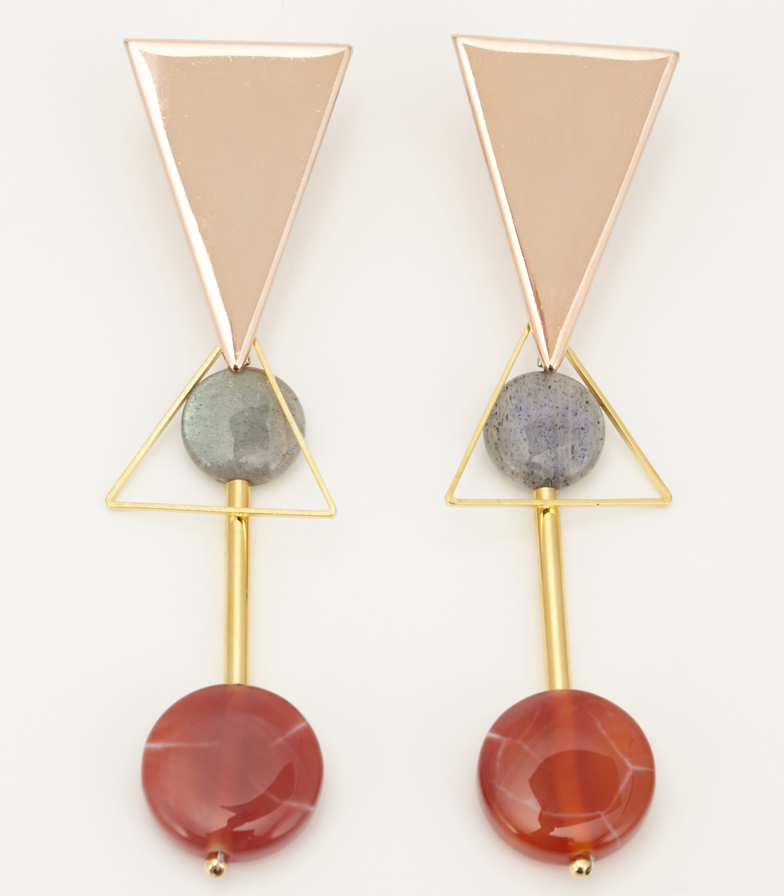 Triangle stone earring