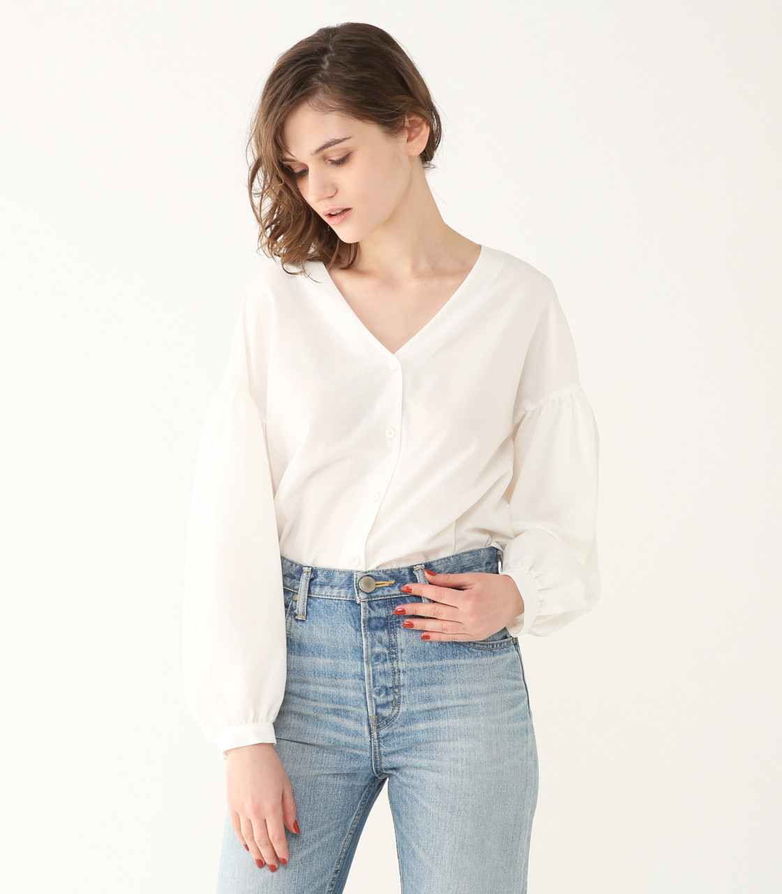 V-neck drop shoulder SH