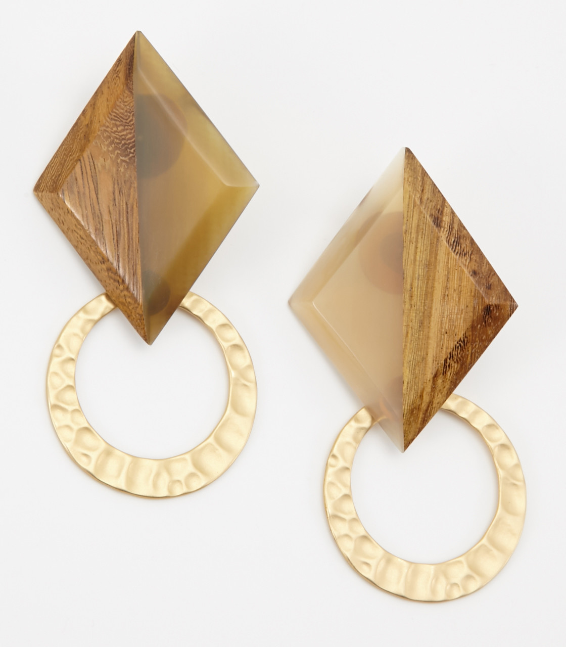 Square wood earring