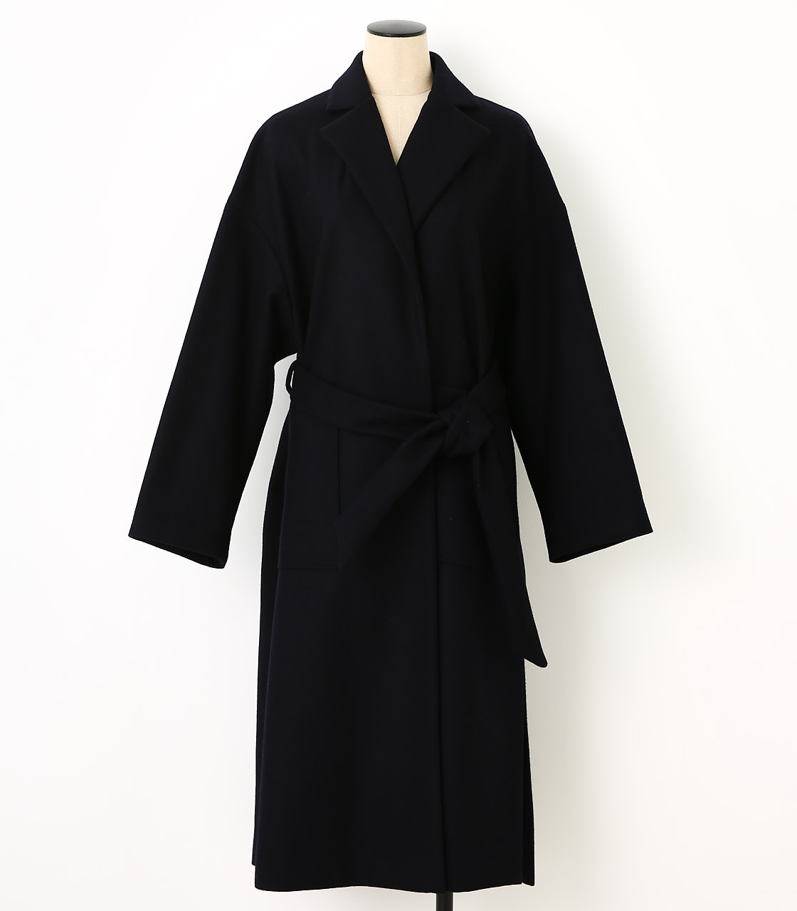 BLACK BY MOUSSY(ブラックバイマウジー) |melton long slit coat(NVY)