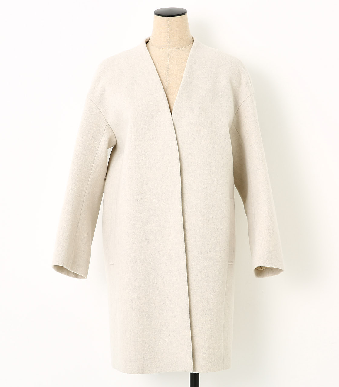 BLACK BY MOUSSY(ブラックバイマウジー) |no collar wool coat(O/WHT)