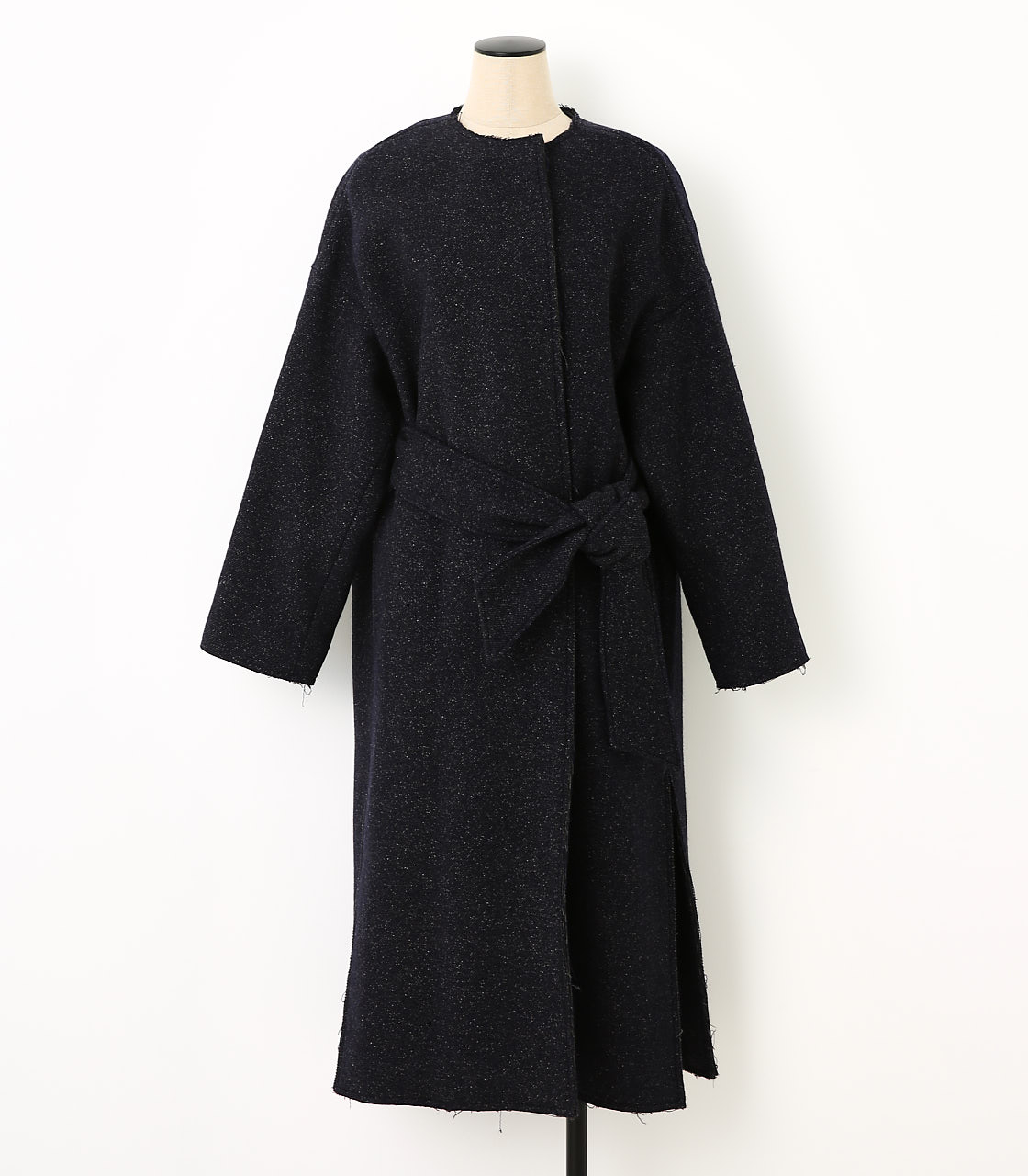 BLACK BY MOUSSY(ブラックバイマウジー) |crewneck long coat(NVY)