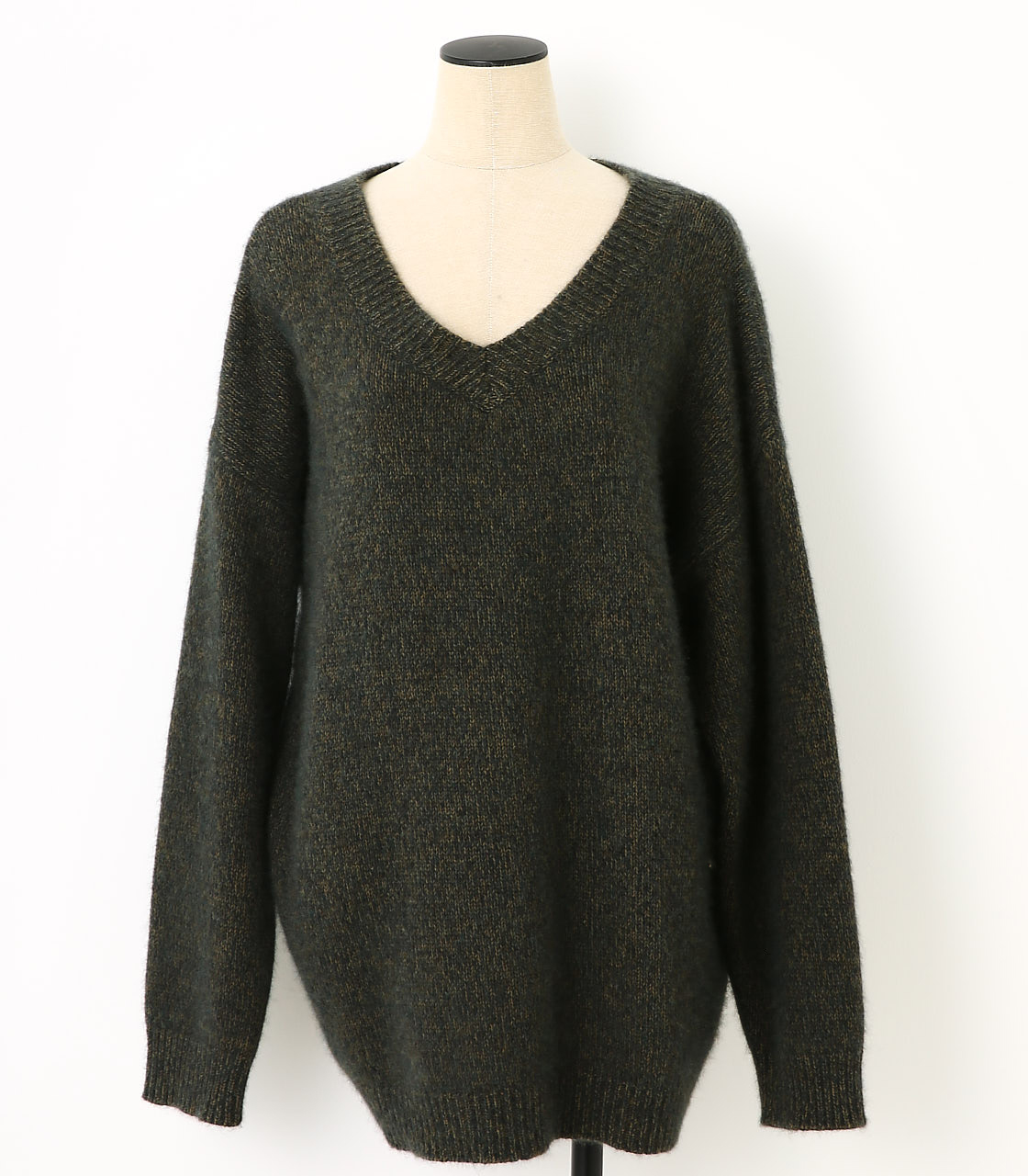 BLACK BY MOUSSY(ブラックバイマウジー) |loose melange knit tops(GRN)