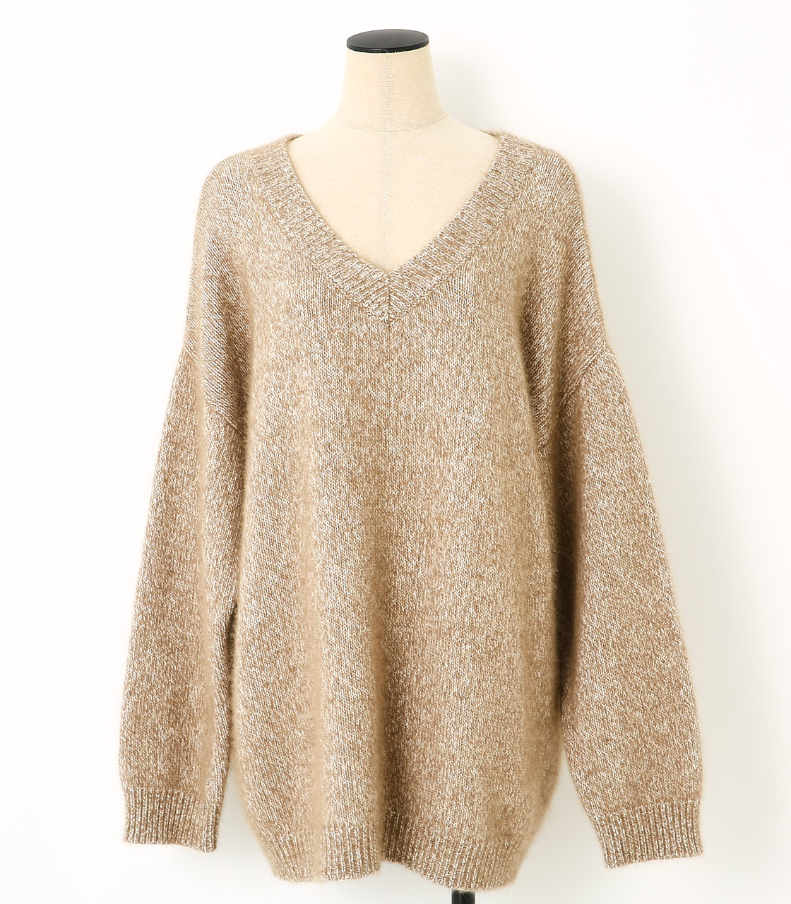 BLACK BY MOUSSY(ブラックバイマウジー) |loose melange knit tops(BEG)