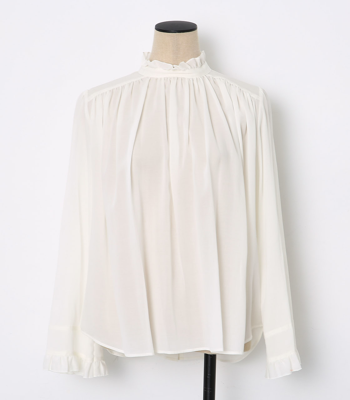 BLACK BY MOUSSY(ブラックバイマウジー) |gather blouse(WHT)
