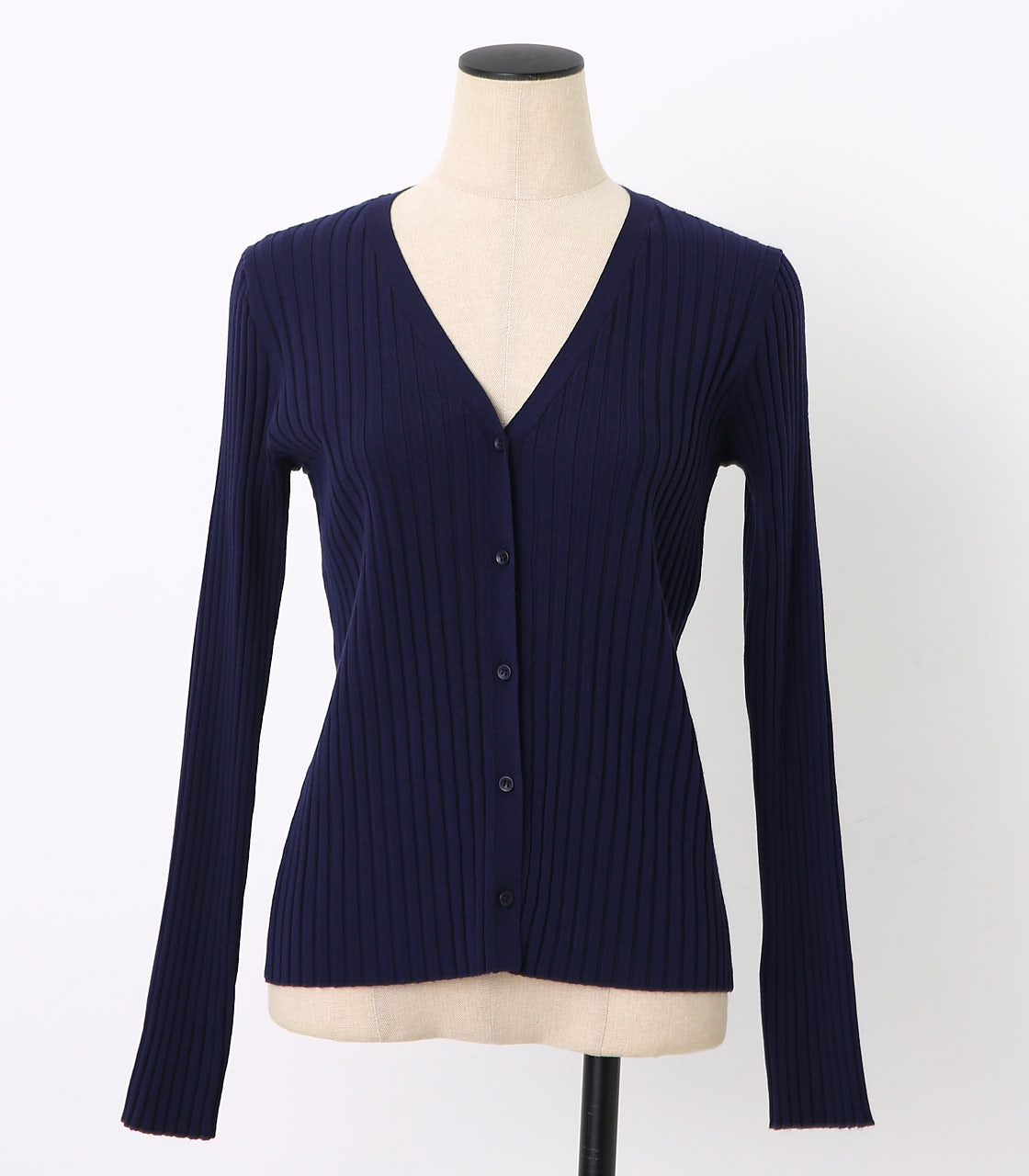 BLACK BY MOUSSY(ブラックバイマウジー) |washable rib compact cardigan(NVY)