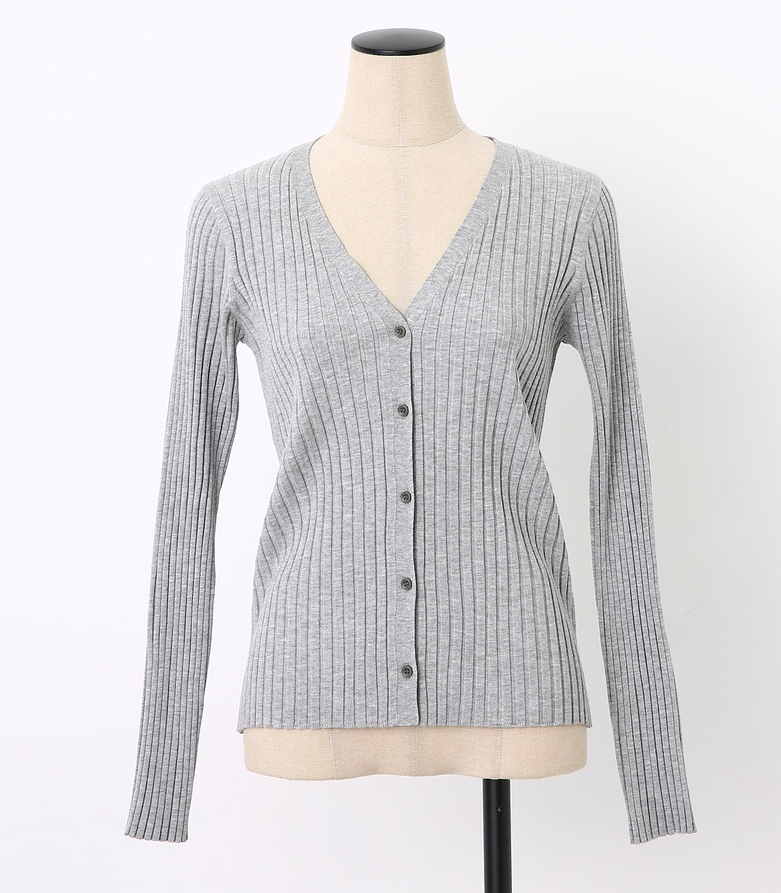 BLACK BY MOUSSY(ブラックバイマウジー) |washable rib compact cardigan(GRY)