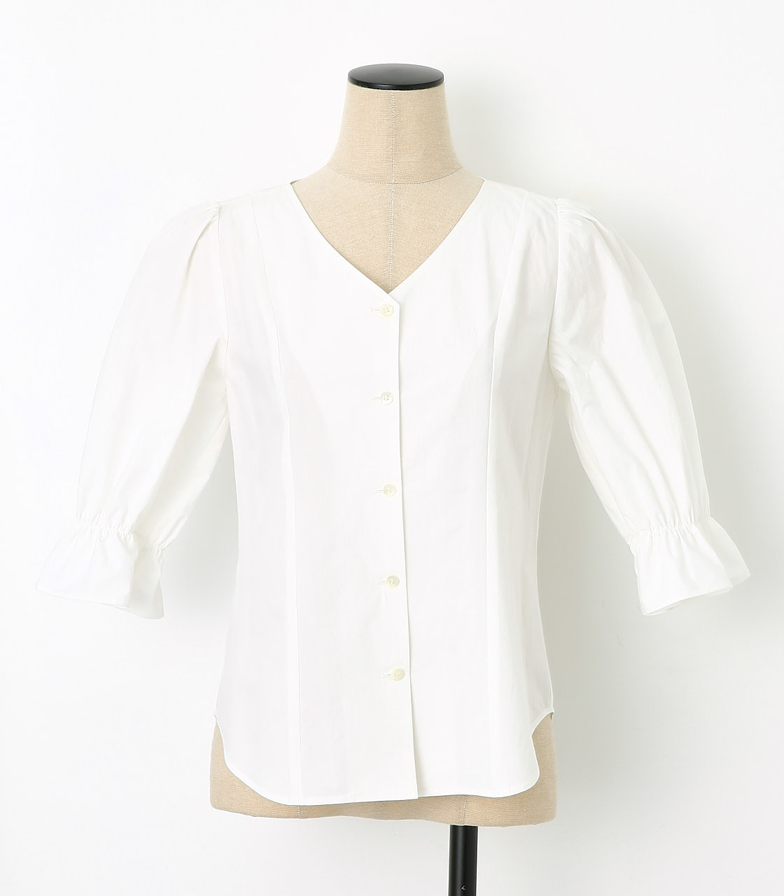 BLACK BY MOUSSY(ブラックバイマウジー) |gather v neck 7sleeve sh(O/WHT)
